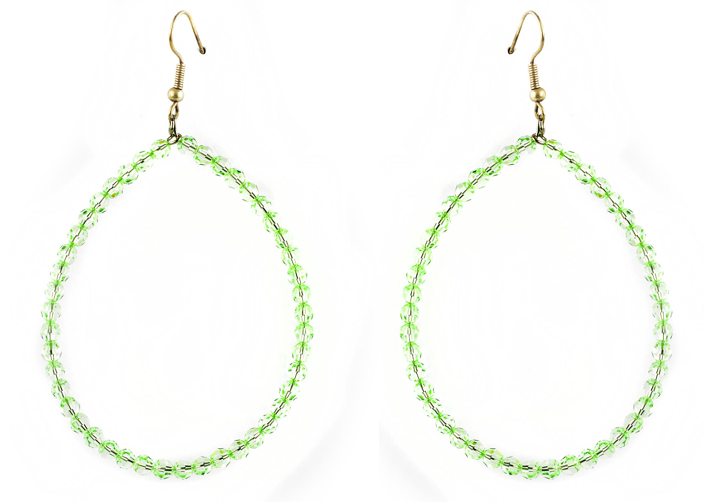 Waooh - Fashion Jewellery - WJ0733 - In Style Creole Earrings with Swarovski Green