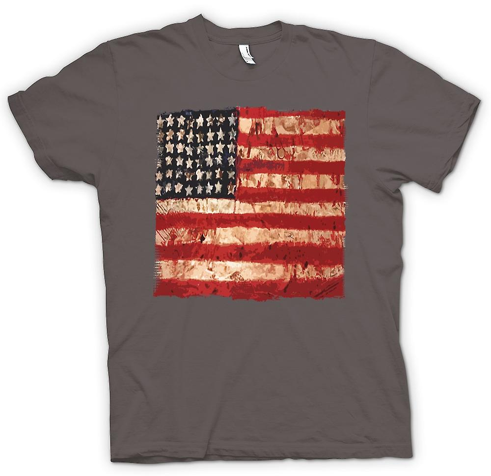 Heren T-shirt-USA Grunge vlag