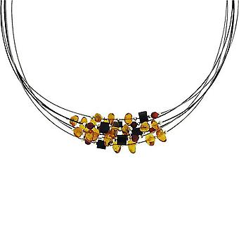 Toc Sterling Silver & Steel Multi-Strand Amber Coral & Agate Necklace