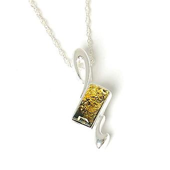 Toc Sterling Silver Green Amber Pendant on 18 Inch Chain