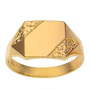 9ct Gold 12x11mm gents engraved rectangular Signet Ring Size T