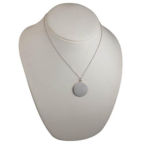 Silver 30mm round plain round Disc with a curb Chain 18 inches