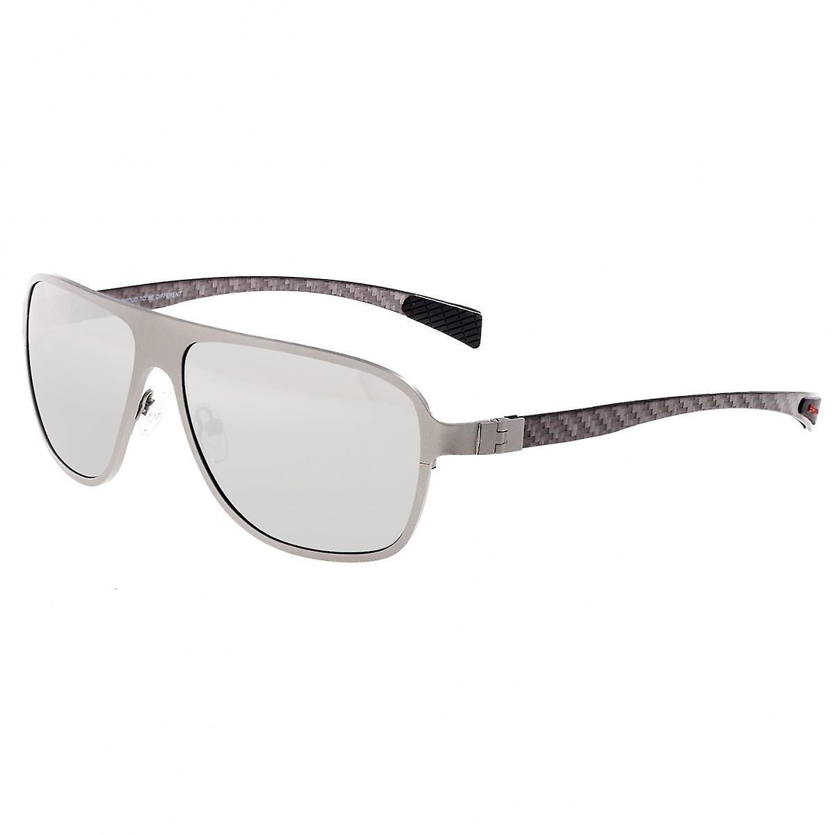 Race ambiance titane et fibre de carbone Polarized lunettes de soleil - argent argent
