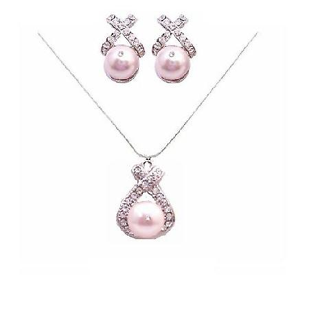 Rose Pink Pearls Swarovski Pearls Jewelry Set Pendant & Earrings Set