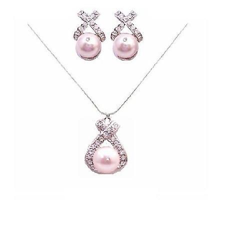 Rose Pink Pearls Swarovski Pearls Jewelry Set Pendant & Earrings Set