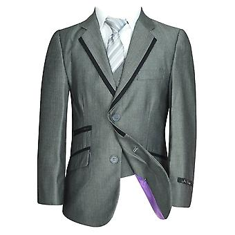 Joe Cooper Boys 5 Piece Grey Suit With Black Piping