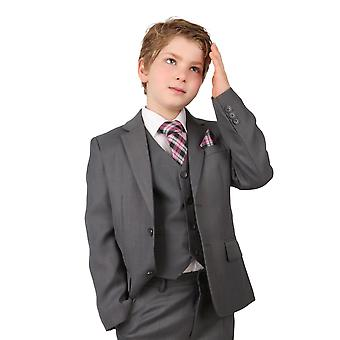 Boys Regular Italian Fit Light Grey All in One Wedding Suit