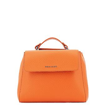 Orciani Orange Leather Shoulder Bag
