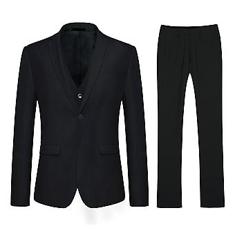 Allthemen Black Slim Fit Double Split Men's Business Casual 3-Piece Suit Blazer Vest Trousers