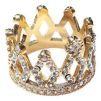 Ah! Gold Crown Princess Cubic Zirconia bijoux bague plaquée simulé diamants