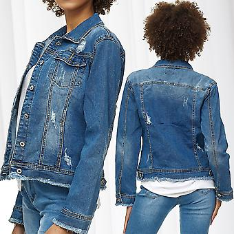 Women's Denim Jacket Short Transition Jacket Big Size L - XXXL Destroyed Frayed
