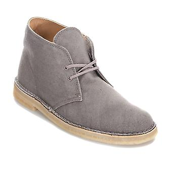 Mens Clarks Originals Canvas Desert Boots In Taupe- Lace Fastening- Crepe Sole