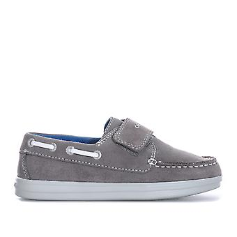 Junior Boys Geox Anthor Trainer Pumps In Grey White- Hook And Loop Fastening-