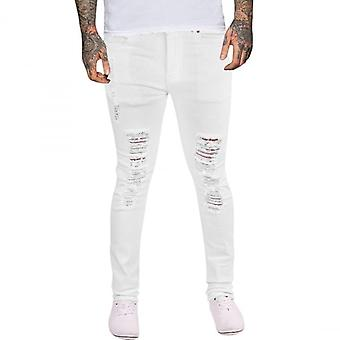 Island Trading Mens Skinny Jeans  Rips Frayed Knee Ripped Distressed Stretch Denim