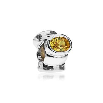 Pandora occhio di gatto argento & giallo CZ CHARM 790289YCZ