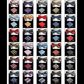Blue & red paisley bow tie pocket square & cufflink