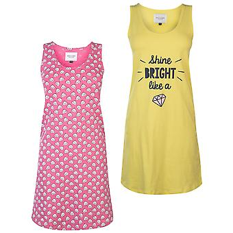 Rock and Rags Womens Ladies Two Pack Nightdress Scoop Neck