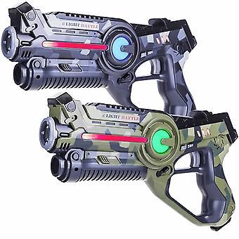 2 laserpistolen camo groen/grijs