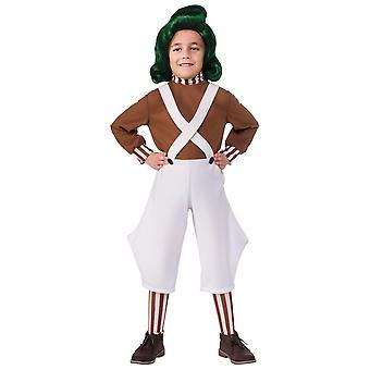 Oompa Loompa Willy Wonka fábrica de chocolate Roald Dahl livro semana meninos traje