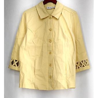 Denim & Co. Basic Jacket 3/4 Sleeve Stretch Twill w/ Lattice Trim Pale Yellow