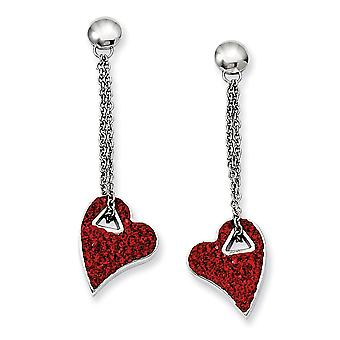Acciaio inossidabile lucidato Post orecchini cuore di cristallo rosso Post orecchini...