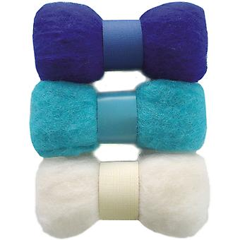Feltworks Roving Trio Pack 1.58Oz Blue, Turquoise & White 72 08258