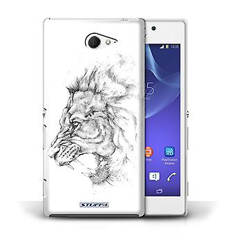 STUFF4 Case/Cover for Sony Xperia M2/Lion/Sketch Drawing