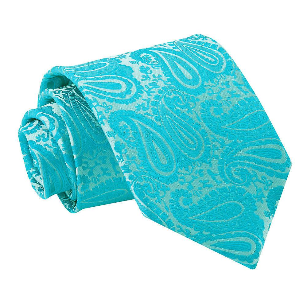 Turquoise Paisley Patterned Tie