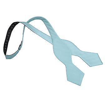 Aqua Herringbone Silk Pointed Self Tie Bow Tie