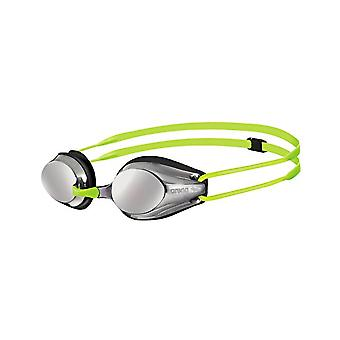 Arena Tracks Junior Mirror Swim Goggle-Mirrored Lens-Black/Fluo Yellow