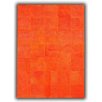 Rugs -Patchwork Leather Cubed Cowhide - Croco Orange DE14