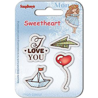 Sweetheart tampons transparents de ScrapBerry 2,7