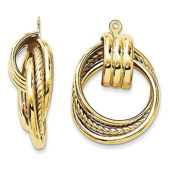 14k Yellow Gold Textured Polished Fancy Earrings Jackets - 3.5 Grams