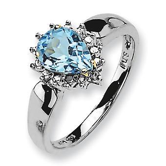 Gepolijst zilver en 14K Sky Blue Topaz en Diamond Ring - maatregelen 2x6mm - Ringmaat: 6 tot en met 8