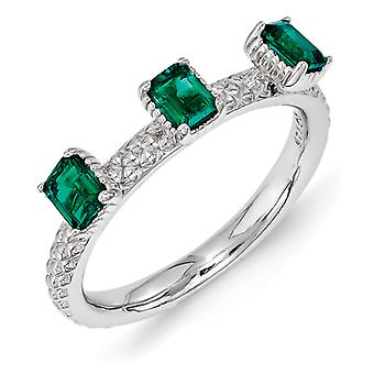 2.5mm Sterling Silver Stackable Expressions Created Emerald Three Stone Ring - Ring Size: 5 to 10