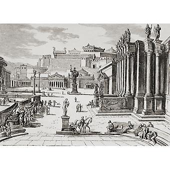Imaginären Blick auf den Marktplatz im alten Sparta von El Mundo Ilustrado veröffentlicht Barcelona 1880 PosterPrint