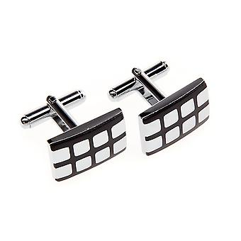 Frédéric Thomass cuff links, square black silver checkered II