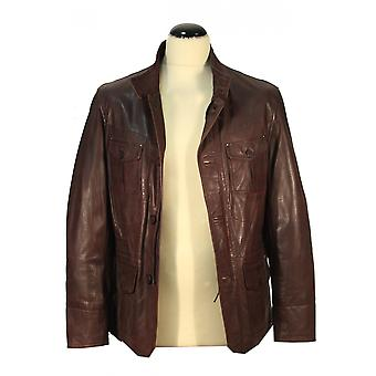 Paghor - fine brown leather coat lamb nappa men coat