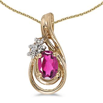 14k Yellow Gold Oval Pink Topaz And Diamond Teardrop Pendant with 18