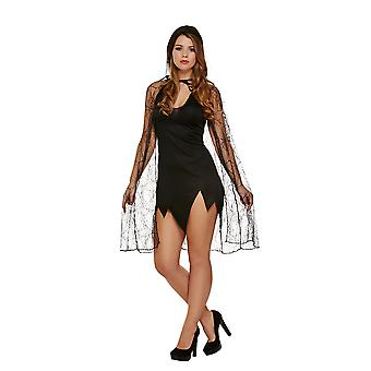Spider Web Cape With Hood Halloween Fancy Dress Costume Accessory From Henbrandt