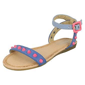 Girls Spot On Flat Sandal / Ankle Strap / Coloured Studs H0116#C