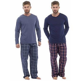 2 Pack Mens Plaid Print Check Pants With Jersey Top Pyjama nightwear lounge wear