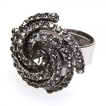 Camille Womens Ladies Fashion Jewellery Smoked Grey Adjustable Whirlpool Swirl Diamante Ring