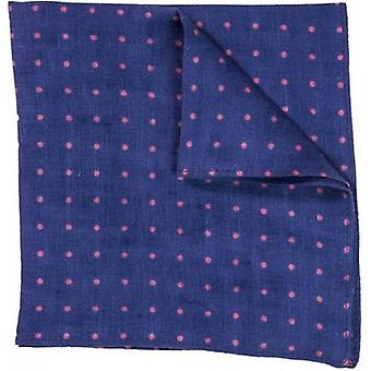 40 Colori Dotted Pocket Square - Night Blue/Pink