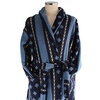 Bown of London Cromer Egyptian Cotton Velour Dressing Gown - Blue/Navy/Gold