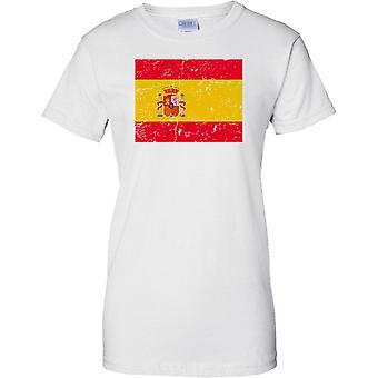 Spanien gequält Grunge Effekt Flaggendesign - Damen-T-Shirt