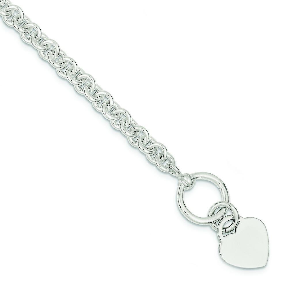 Sterling argent Polished Engravable Toggle Closure Heart Disc Fancy Toggle Bracelet