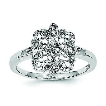 Sterling Silver Polished Rhodium-plated Diamond Fashion Ring - Ring Size: 6 to 8