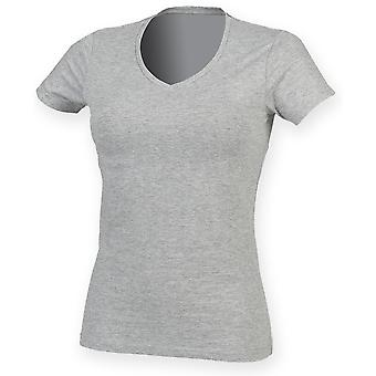 Skinni Fit Womens/Ladies Feel Good Stretch V-Neck Short Sleeve T-Shirt
