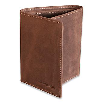 Brunhide Mens Slim Real Distressed Leather Trifold Wallet Genuine Boxed 215-300